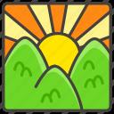 1f304, b, mountains, over, sunrise icon