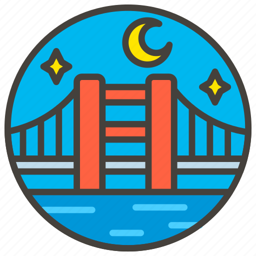 1f309, a, at, bridge, night icon