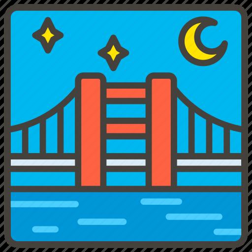 1f309, at, b, bridge, night icon
