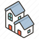 1f3d8, b, houses icon