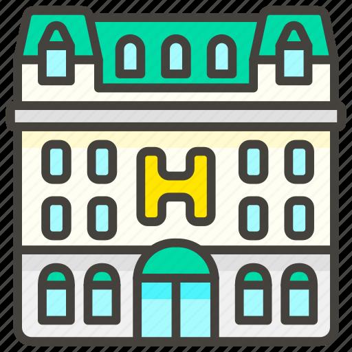 1f3e8, d, hotel icon