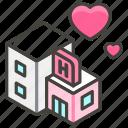 1f3e9, a, hotel, love icon