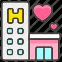 1f3e9, b, hotel, love icon