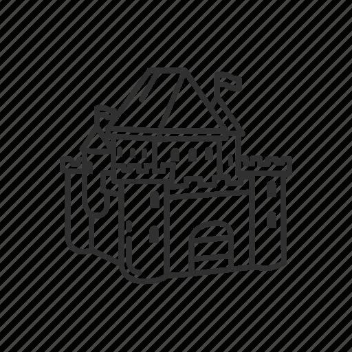 Building, castle, emoji, flag, medieval, security, estate icon - Download on Iconfinder