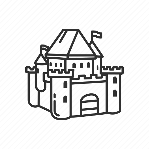 building, castle, emoji, estate, flag, medieval, security icon
