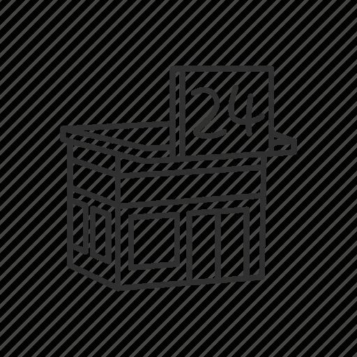 building, convenience store, emoji, grocery, market, store, twenty four hours icon