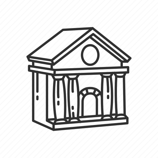bank, building, city, city hall, classical building, emoji, hall icon