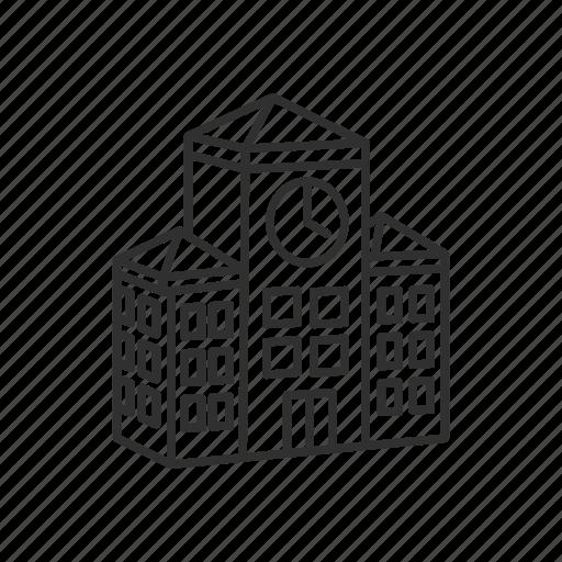 building, campus, city, clock, education, emoji, school icon