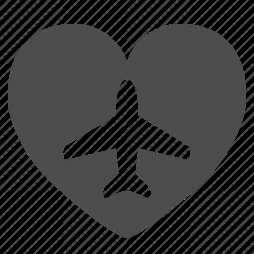 heart, love, plane, travel icon