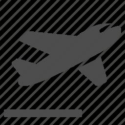 airplane, airport, flying, landing strip, plane, runway icon
