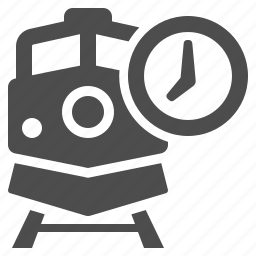 clock, locomotive, railroad, railway, schedule, train, transportation icon