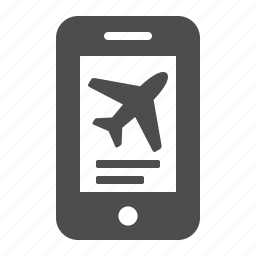 booking, flight, mobile phone, online, plane, smartphone, telephone icon