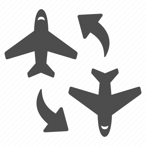 airplane, airport, arrows, change, flight, plane, planes icon