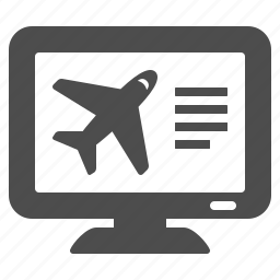 booking, computer, flight, online, plane, screen, travel icon