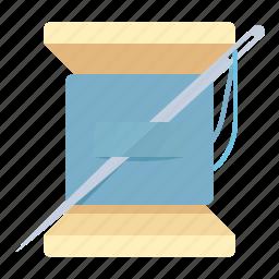 needle, tailoring, thread, travel icon