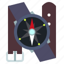 compass, navigation, travel, wrist icon