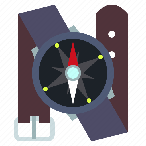 compass, navigation, travel, wrist icon