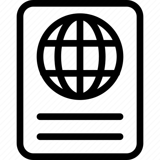 passport, permit, plane, travel, visa icon