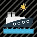 boat, cruise, ship, sun, travel icon