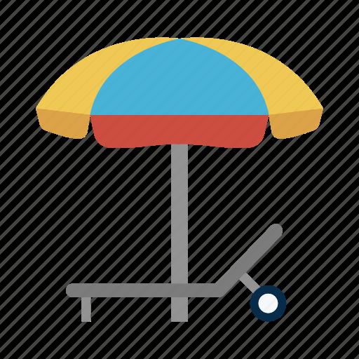 bench, deck, summer, umbrella, vacation icon