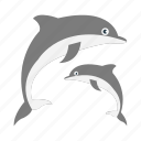 dolphin, fish, sea, tourism, vacation icon