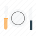 food, fork, knife, plate, spoon icon
