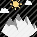 cloud, hills, mountains, summer, sun icon