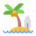 beach, coconut island, holiday, recreation, tourism, travel, vacation icon