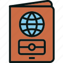 document, id, passport, tourist, travel icon