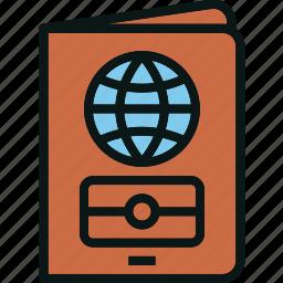 document, id, passport, tourist, travel icon