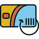 card, cash, refill, renew, return, travel icon