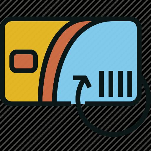 card, cash, refill, renew, return, travel icon