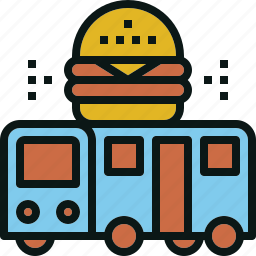 bus, food, serve, service, transportation, travel icon