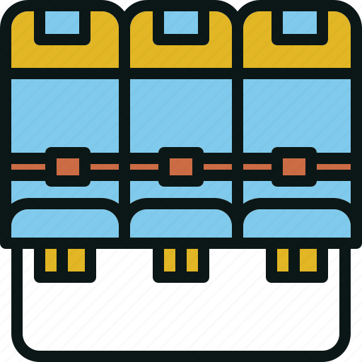 airplane, belt, row, seat, travel icon