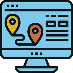 computer, location, travel, web, website icon