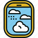 airplane, fly, sky, view, window icon