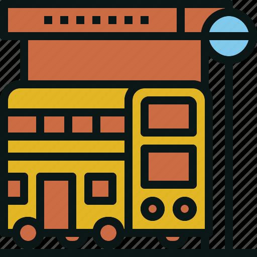 bus, station, stop, transportation, travel icon