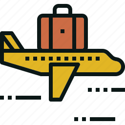 airplane, business, fly, suitcase, transportation, travel icon