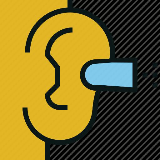 block, ear, listen, noise, plug icon