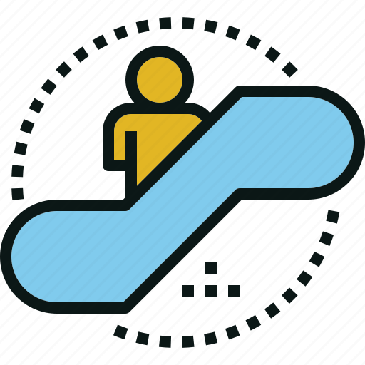 escalator, floor, human, stairs icon