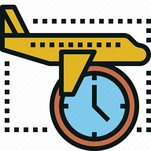 airplane, on, time, transportation, travel icon