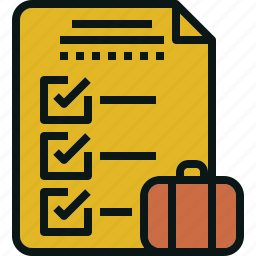 bag, check, list, packing, transportation, travel icon