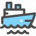 boat, ferry, ocean, sea, ship, transport, travel icon