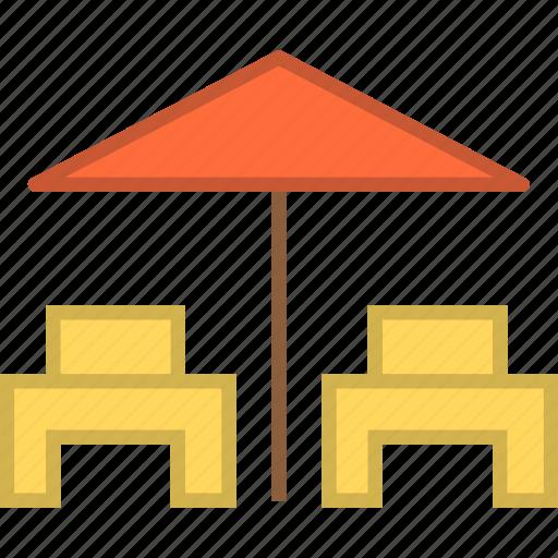 chair, deck, deckchair, relax, umbrella icon