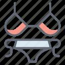 bikini, bra with pentie, female wear, swimsuit, underwear icon