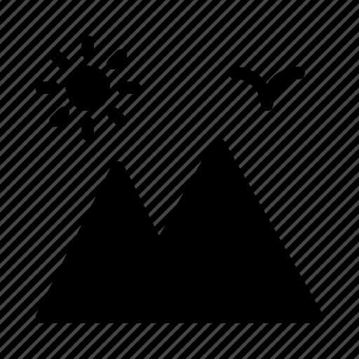 birds, hills, mountains, sun, travel icon