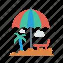 beach, bench, tree, umbrella, weather icon
