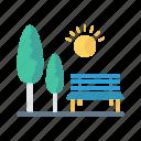 nature, park, sun, tree, weather icon