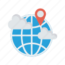 cloud, location, map, pin, world icon
