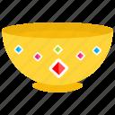 decorative bowl, gold bowl, gold treasure, pure gold, solid gold icon